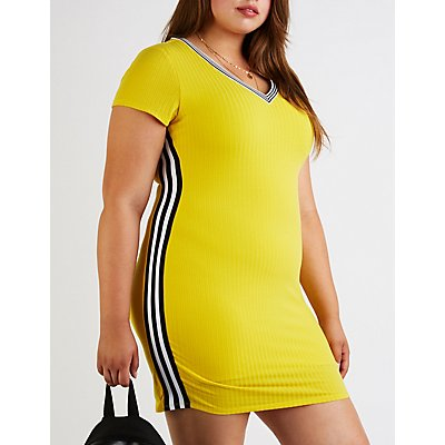 Plus Size V Neck Ribbed Bodycon Dress