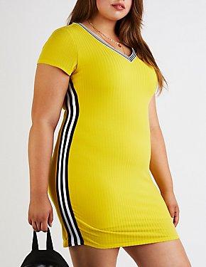 Plus Size V Neck Ribbed Bodycon Dress