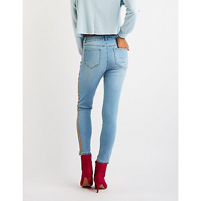 Refuge Rainbow Side Striped Skinny Jeans