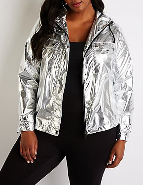 Plus Size Metallic Hooded Parka Jacket