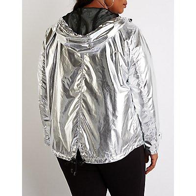 Plus Size Metallic Hooded Parka Jacket