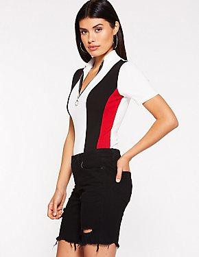 Stripe Mock Neck Bodysuit