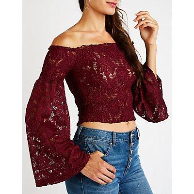 Floral Lace Off The Shoulder Top