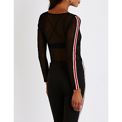 Sheer Mesh Racer Stripe Bodysuit