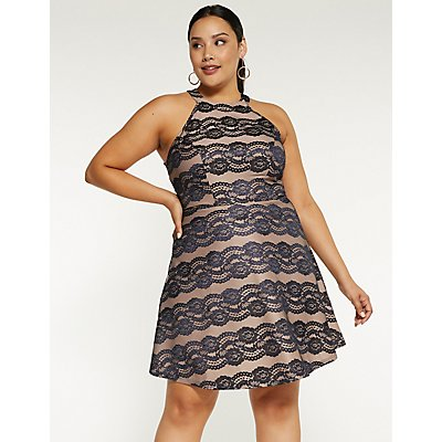 Plus Size Lace Mock Neck Skater Dress