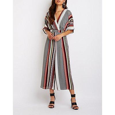 Striped Wrap Culotte Jumpsuit