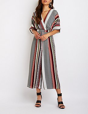 Striped Wrap Culotte Jumpsuit