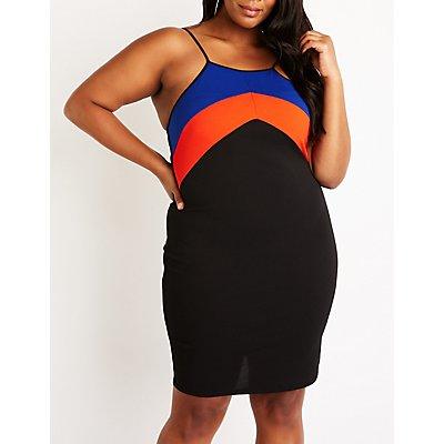 Plus Size Colorblock Chevron Dress