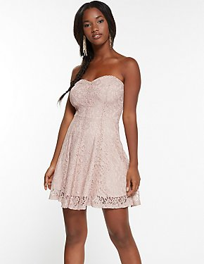 Metallic Lace Strapless Skater Dress