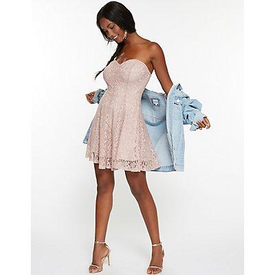 Metallic Lace Strapless Skater Dress