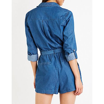 Button Up Chambray  Romper