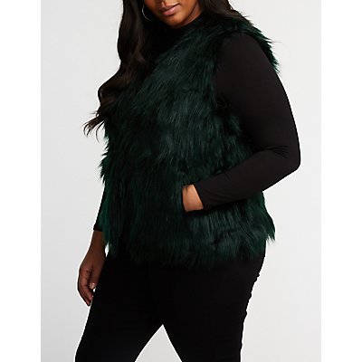 Plus Size Faux Fur Vest