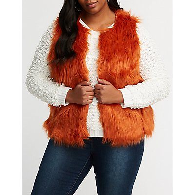 Plus Size Faux Fur Jacket