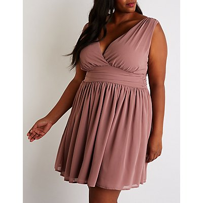 Plus Size V Neck Skater Dress