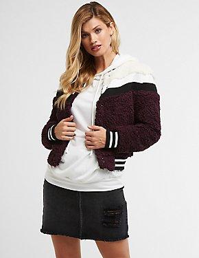 Faux Fur Varsity Bomber Jacket