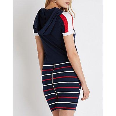 Varsity Striped Cropped Hoodie