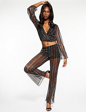 Striped Metallic Palazzo Pants