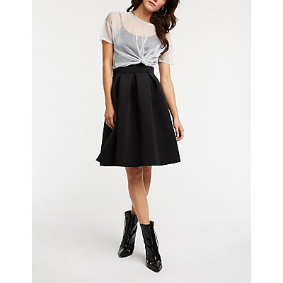 Pleated Midi Skater Skirt