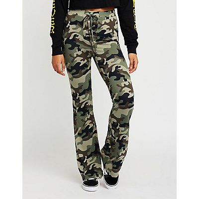 Camo Lace Up Flare Pants