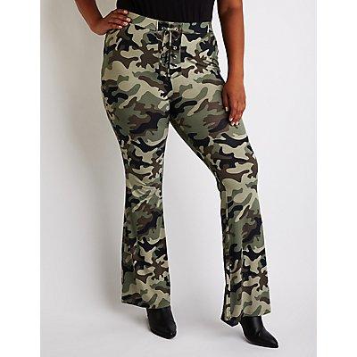 Plus Size Camo Flare Pants
