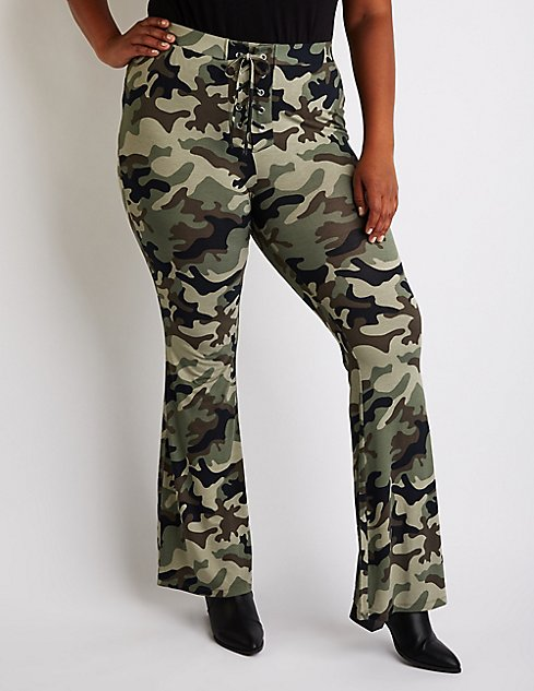 Plus Size Camo Flare Pants