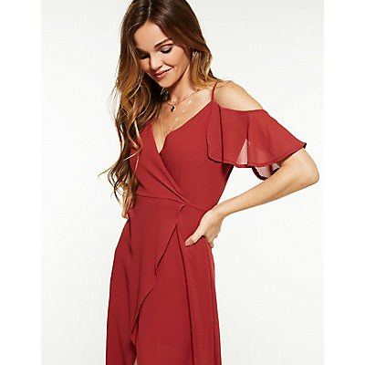 Cold Shoulder High Low Maxi Dress