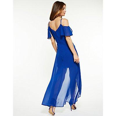 Cold Shoulder High Low Maxi Dress