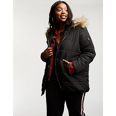 Plus Size Longline Hooded Puffer Jacket