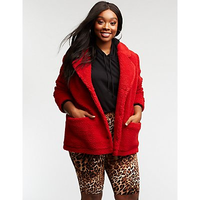 Plus Size Teddy Coat