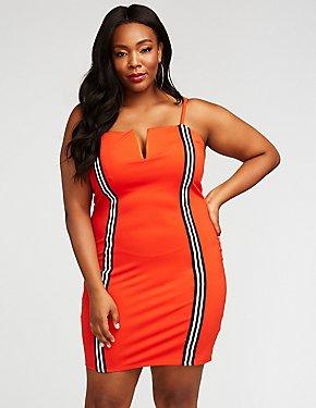 Plus Size Racer Stripe Bodycon Dress