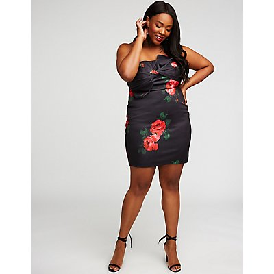 Plus Size Knotted Floral Bodycon Dress