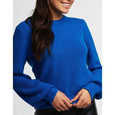 Tie Back Balloon Sleeve Sweater