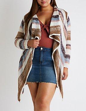 Plus Size Striped Cascade Cardigan