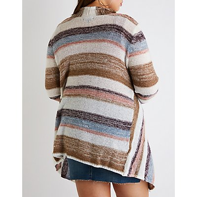 Plus Size Striped Cascade Cardigan
