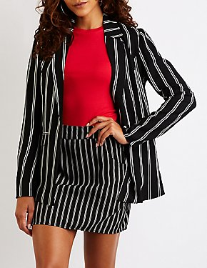 Striped Open Front Blazer