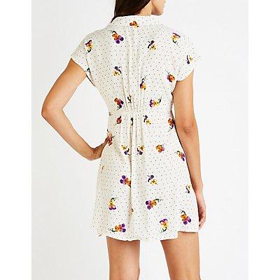 Floral & Polka Dot Button Up Dress
