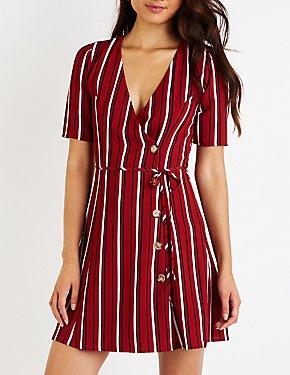 Stripe Button Up Skater Dress