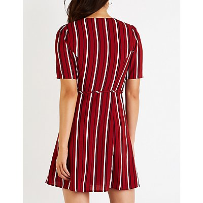 Stripe Button Up Skater Dress