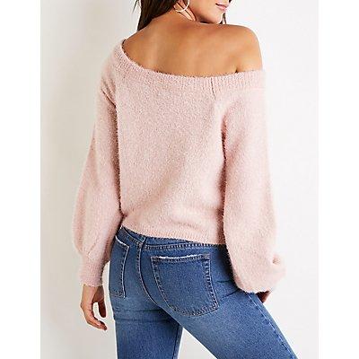 Fuzzy Balloon Sleeve Crop Sweater