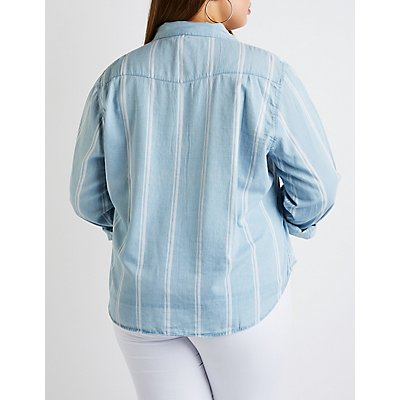 Plus Size Striped Chambray Top