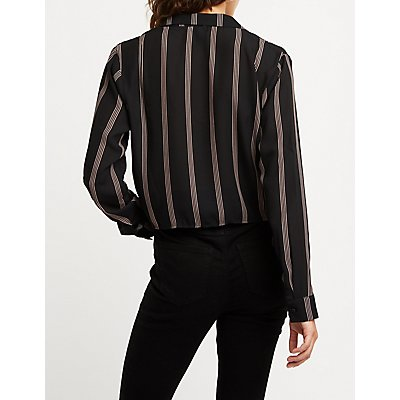 Cinched Drawstring Striped Top
