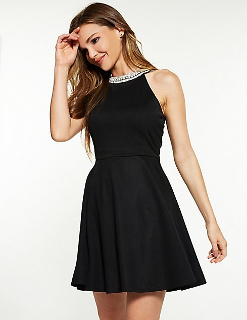 b9bc644535 Crystal Bib Neck Skater Dress