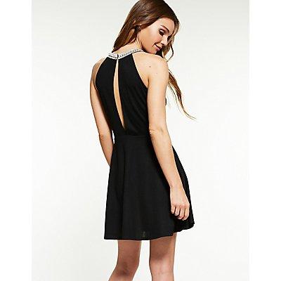 Crystal Bib Neck Skater Dress