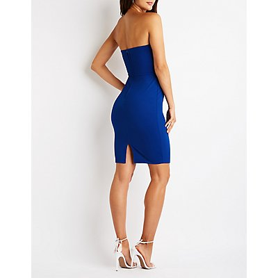 Crystal Detail Strapless Bodycon Dress