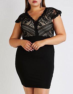Plus Size Lace Up Bodycon Dress