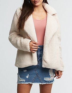 Notched Collar Faux Fur Jacket