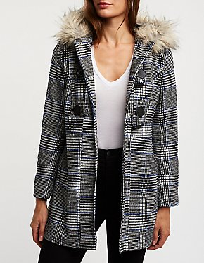 Glen Plaid Hooded Peacoat