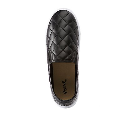 Qupid Quilted Slip On Sneakers