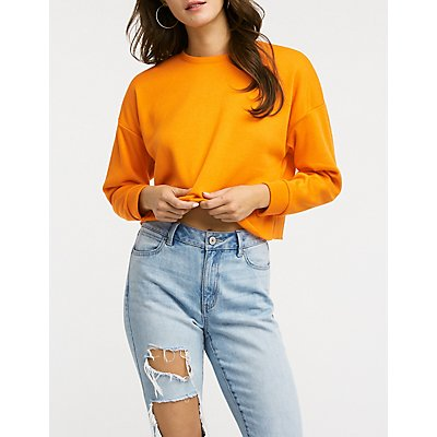 Brushed French Terry Crop Sweatshirt