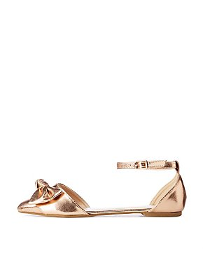 Metallic Bow Ankle Sandals